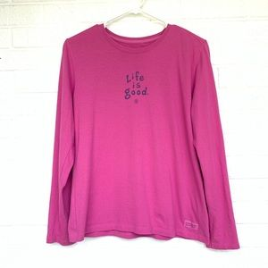 Life is good small long sleeve pink t-shirt